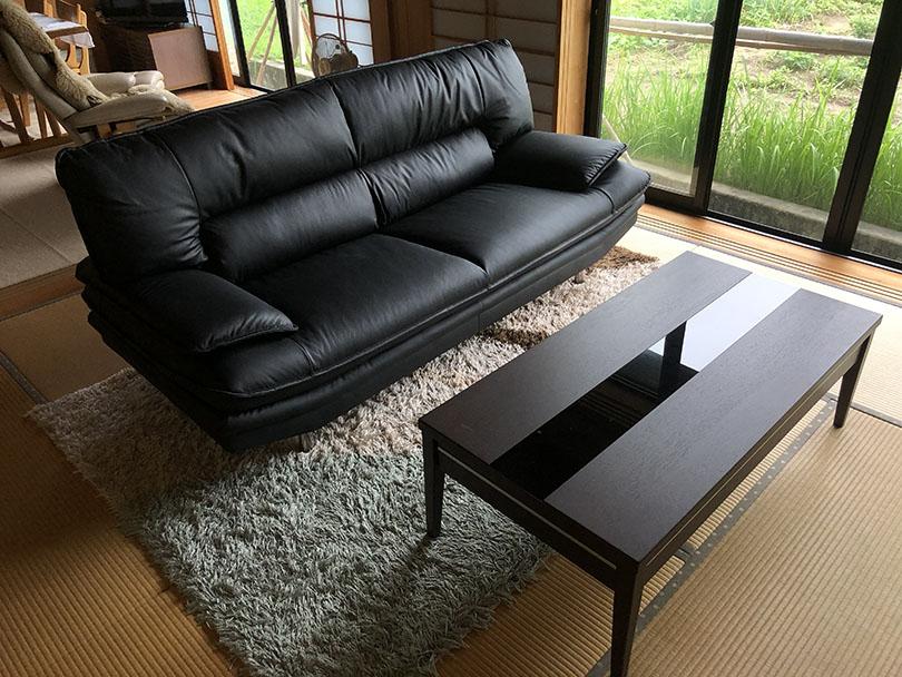 本革張り3Pソファー センターテーブル